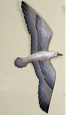 Coastal Art Flying Wingspan Seagull Hand Carved Wood Seashore Wall Sculpture - Hand Carved Wood Wall