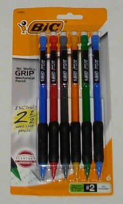 New 6-pack Mechanical Pencils Bic 0.7 Mm Medium 2 Rubber Grips