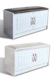 Hallway Soft Cushioned Wood Seat Beach Shoe Rack Storage Unit Organiser D290