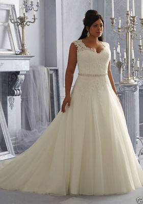 Plus Size Wedding Dress White Ivory Bridal Dress Tulle Lace Gown Size 14   26W