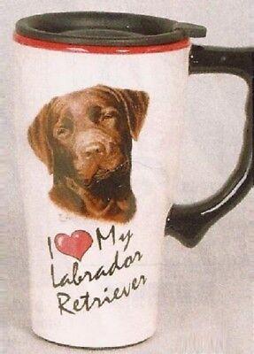 Used, Chocolate Lab Retriever Ceramic Coffee Travel Mug, Plastic Lid, NIB [12640] OoP for sale  Shipping to Canada