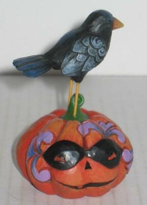 Jim Shore Halloween Mini Crow on Jack- O-Lantern Pumpkin Enesco Heartwood Creek - Jim Shore Halloween