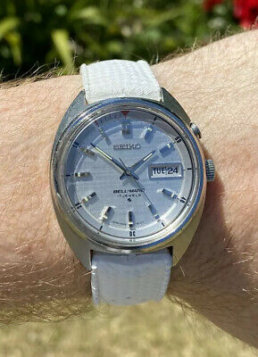 Seiko Bell-Matic 4006-6011 Day Date Men's Vintage Watch Linen Dial Tropic Strap
