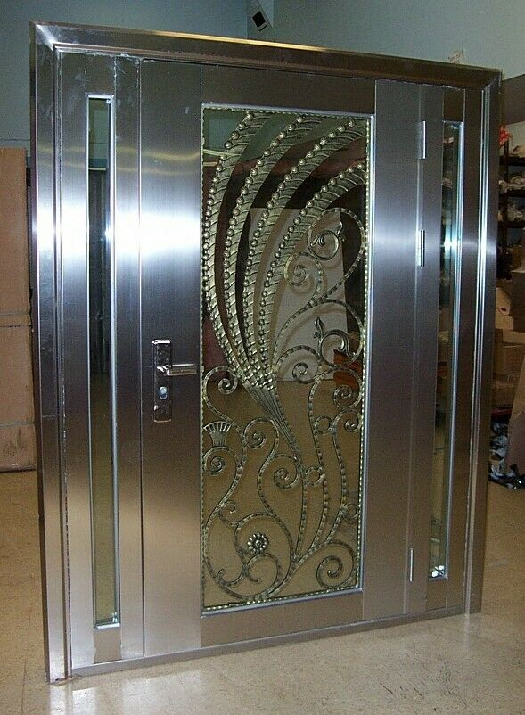 Modern Stainless Steel Entry Doors With Sidelights..  Free S