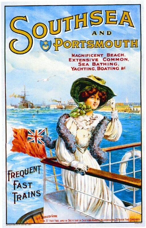 c1900 Southsea British English Art Travel Ocean Liner Advertisement Poster Print