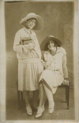 REAL PHOTO POSTCARD. FASHIONABLE AFRICAN-AMERICAN WOMEN. SISTERS?