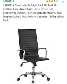 LANGRIA Comfortable High Back Ribbed PU Leather Executive Chair