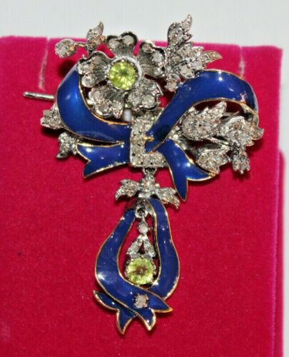 3.60ct ROSE CUT DIAMOND PERIDOT BLUE ENAMEL ANTIQUE VICTORIAN LOOK SILVER BROOCH