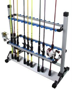 Fishing Rod Rack Stand 24 Slots Alloy Metallic Silver with Blue rack Foldable UK