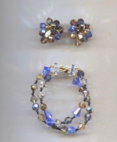 VENDOME VINTAGE BLUE CRYSTAL SET necklace bracelet earrings