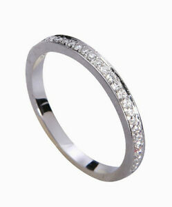 0-20pt-Pave-Diamond-Solid-14K-White-Gold-Engagement-Wedding-Band-size-4-11