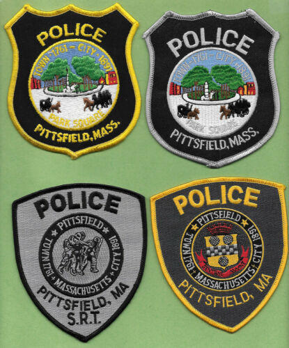 LOT OF 4 POLICE PATCH LOT OF PITTSFIELD MASS MA POLICE DEPT PARK SQUARE (FIRE)