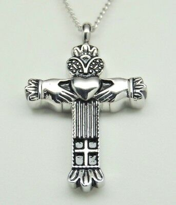 Celtic Memorial Jewelry  Claddagh Cross Urn Necklace In 316L Stainless Steel