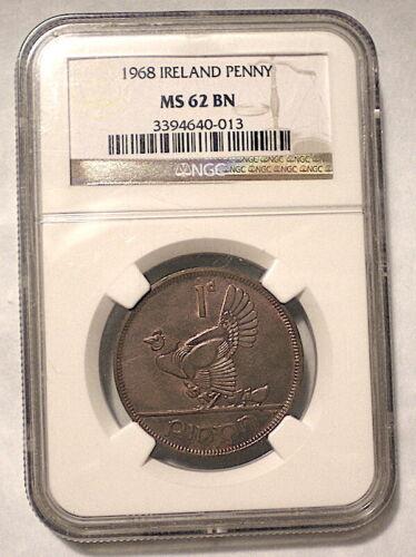 IRELAND Last Year 1 Penny 1968 Slabbed MS-62 BN KM-11 Copper $3 S&H-USA
