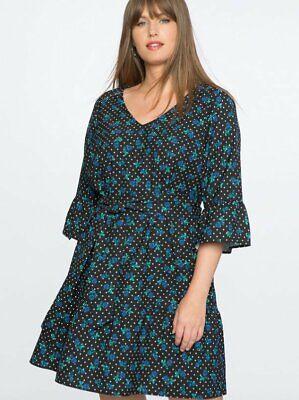 Floral Drop Waist Dress - NEW ELOQUII DRAPER JAMES BLACK FLORAL DOT PRINT DROP WAIST FLOUNCE DRESS 14