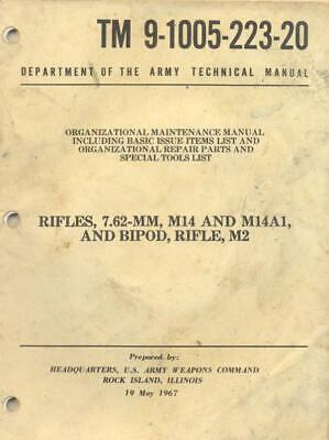 TM9-1005-223-20 Rifles 7.62mm M14 M14A1 M2 1967 Technical Manual Book USA Rifle