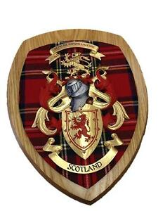 Hand-Crafted-Coat-of-Arms-Scotland-Wall-Plaque-Royal-Stewart-Tartan-Brand-New