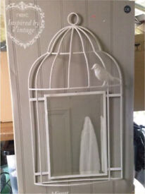 NEXT Inspired By Vintage Lovely Bird Cage Wrought Iron Mirror White/Cream RRP £35 Boxed New
