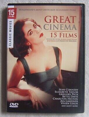 Great Cinema: 15 Hollywood Classic Films (DVD, 2009) 2-Disc Set VG Condition