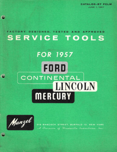 53-57 Ford Lincoln Mercury Car Truck Specialty Tools Catalog Manzel