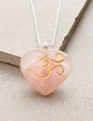 Rose Quartz Om Heart Necklace Engraved Yoga Reiki Chakra Gift Gemstone Jewelry