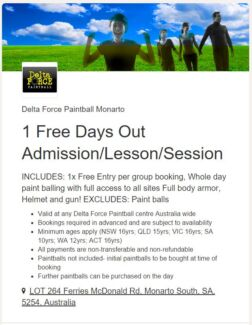 1 Free Entry per group booking Delta Force Paintball Salisbury North Salisbury Area Preview