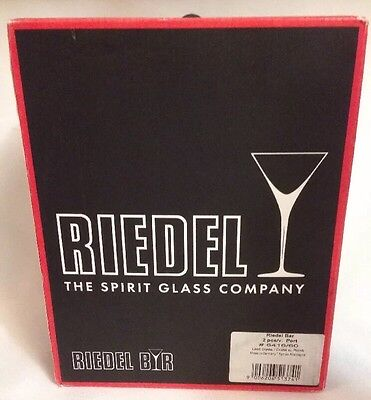 Riedel Bar Crystal Set Of 2 Grape Varietal Specific Port Wine Glasses NEW In Box