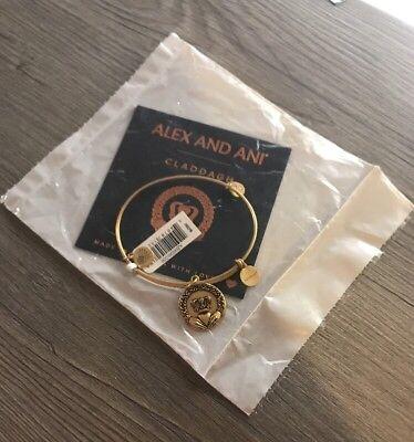 Alex and Ani CLADDAGH II Russian Gold Finish Charm Bangle New W/ Tag & Card.