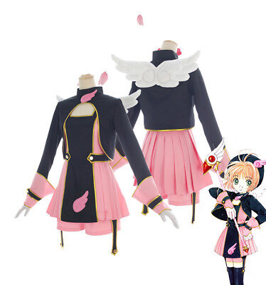 Captor Sakura Kinomoto Sakura Cosplay Kostüm Hat Kleid Uniform komplett (Kinomoto Sakura Kostüm)