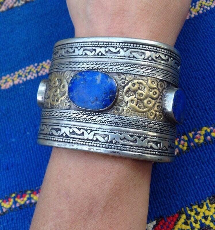 Vintage Moroccan Silver Lapis Lazuli Cuff Bracelet Man Size Huge
