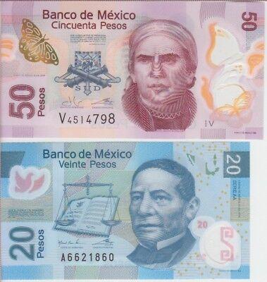 """Mexico Banknote P NEW 20 & 50 Pesos 2016 """"Ciudad de Mexico"""", PAIR, UNC"""