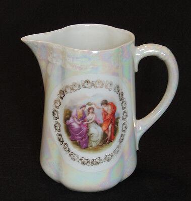 """Gorgeous Antique Porcelain Portrait 7.5"""" Pitcher.. Pearl Luster & Romantic Scene"""