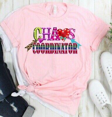 Chaos Coordinator Teacher Mom Funny Pink Unisex T-Shirt Mom Womens Pink T-shirt