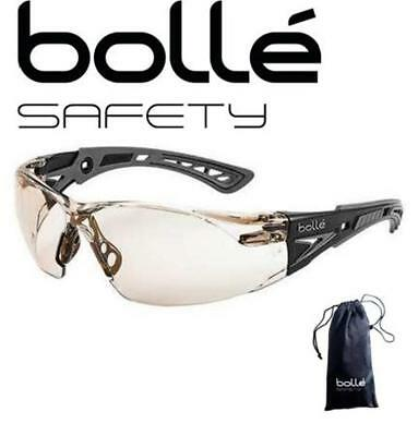 Anti Fog Safety Glasses - Bolle Rush+ 40209 Safety Glasses,Black/Gray Temples, CSP Anti-Fog, Case
