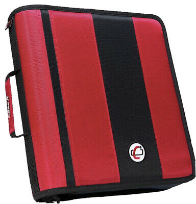 Case-it The Classic Zipper 2 3 Ring Binder W-221 Whandle Shoulder Strap Red