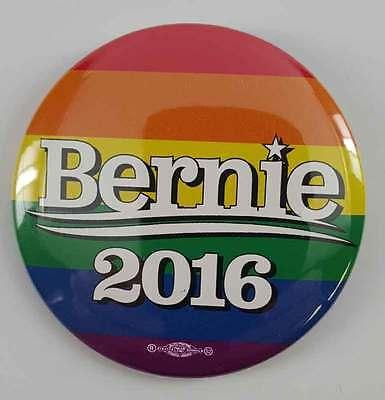 Bernie Sanders 2016 Democratic Campaign Button Rainbow New