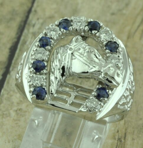 1.21 Ct 14k Solid White Gold Mens Natural Diamond Sapphire Ring Horseshoe Lucky