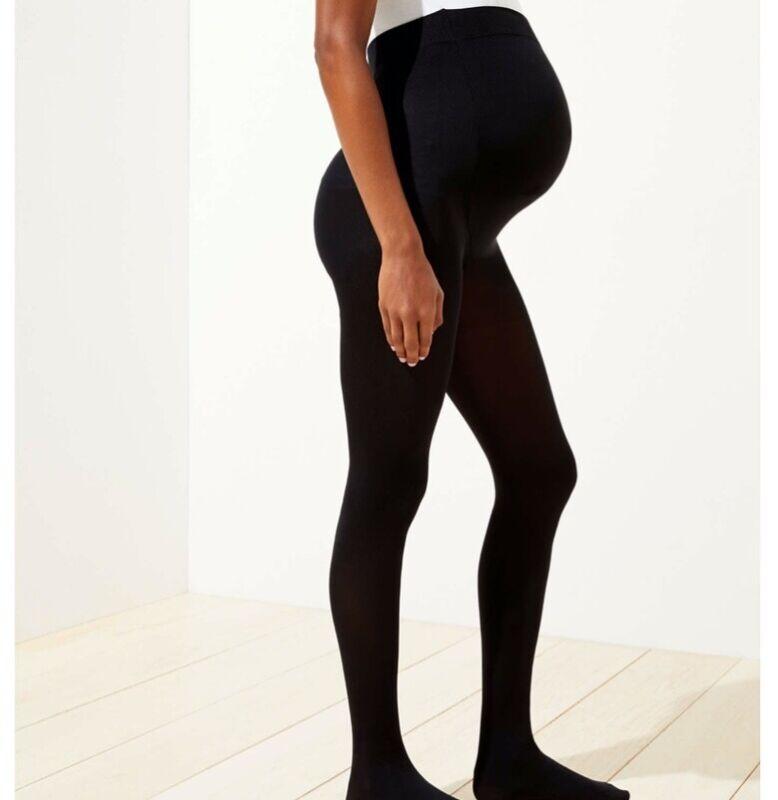 NWT LOFT Maternity Essential Black Tights Medium