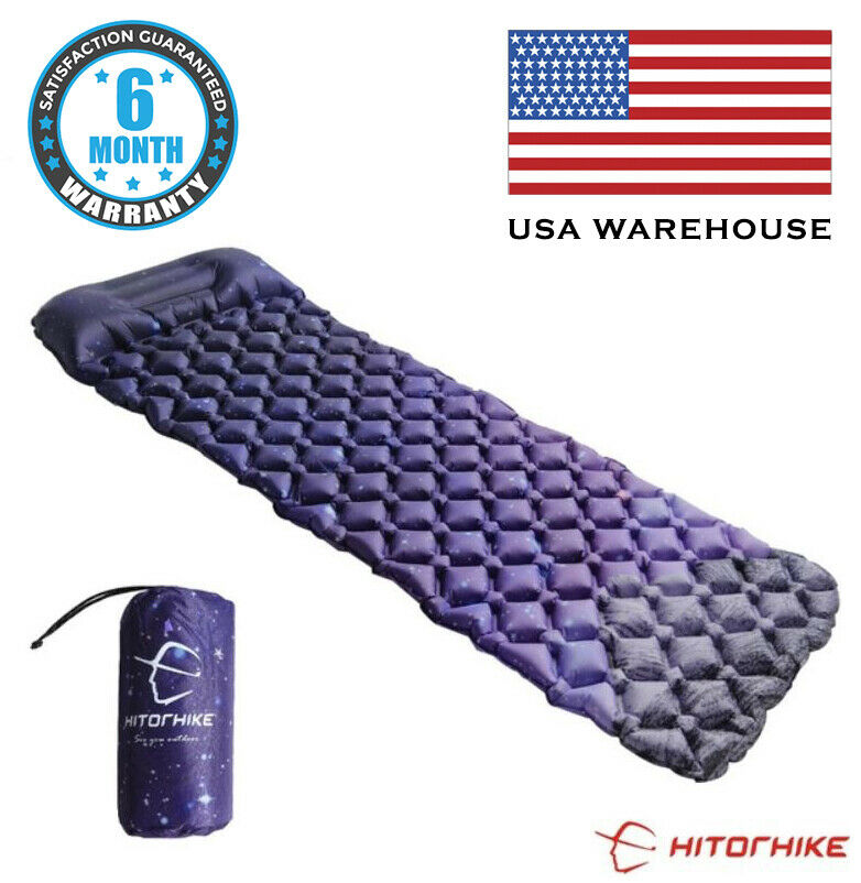 Inflatable Air Mattress Sleeping Pad Pillow Outdoor Bed Camp