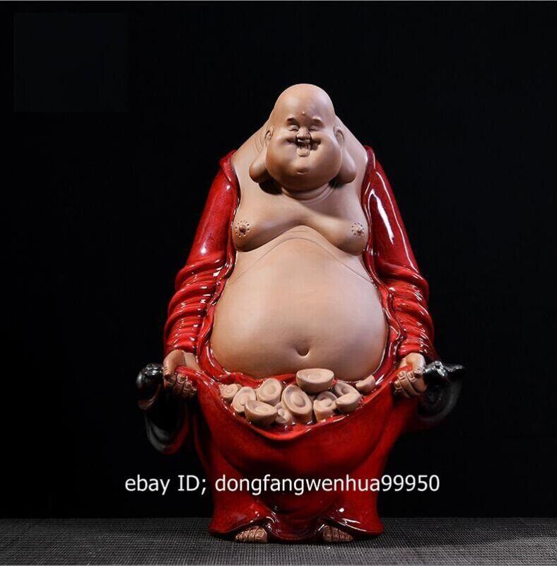 China Porcelain Pottery Handwork Wealth Auspicious Buddhist Monk Statue