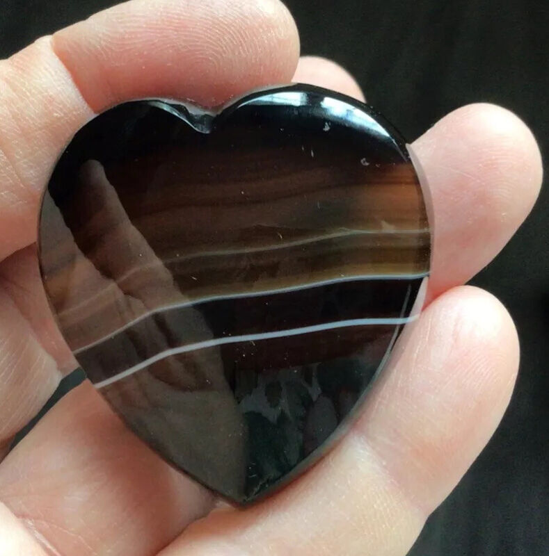 Victorian Antique Jewellery Beautiful Large Banded Agate Heart Brooch