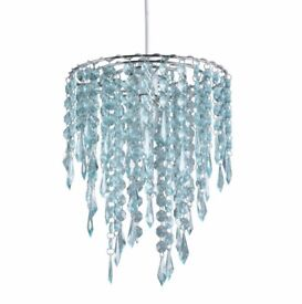 Brand New Beaded Light Shade - Duck Egg (light blue)