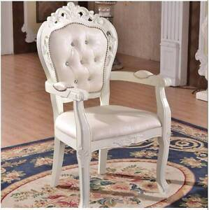 ":L""New Queen Anne PU leather Armchair Dining Chair Wooden Ivory Kellyville The Hills District Preview"
