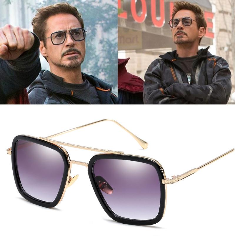 Tony Stark Flight 006 Style Sunglasses Men Square Fashion Av