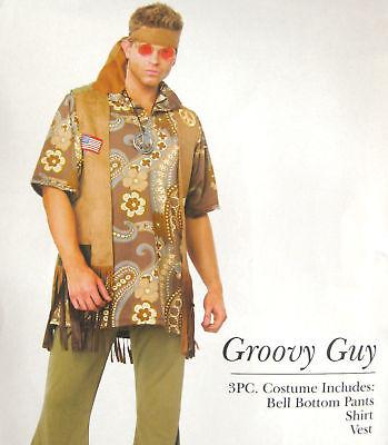 GROOVY GUY 60s 70s Mens Hippy Flares Fancy Dress M/L (Groovy Guy Kostüme)