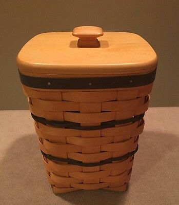 Longaberger 1996 Small Waste Basket Combo Lid & Protector Navy Weave