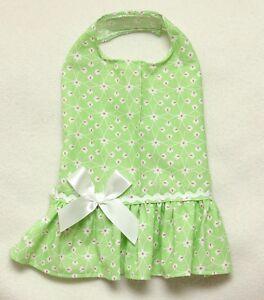 Zu s green little flowers dog dress clothes pet apparel small pc dog