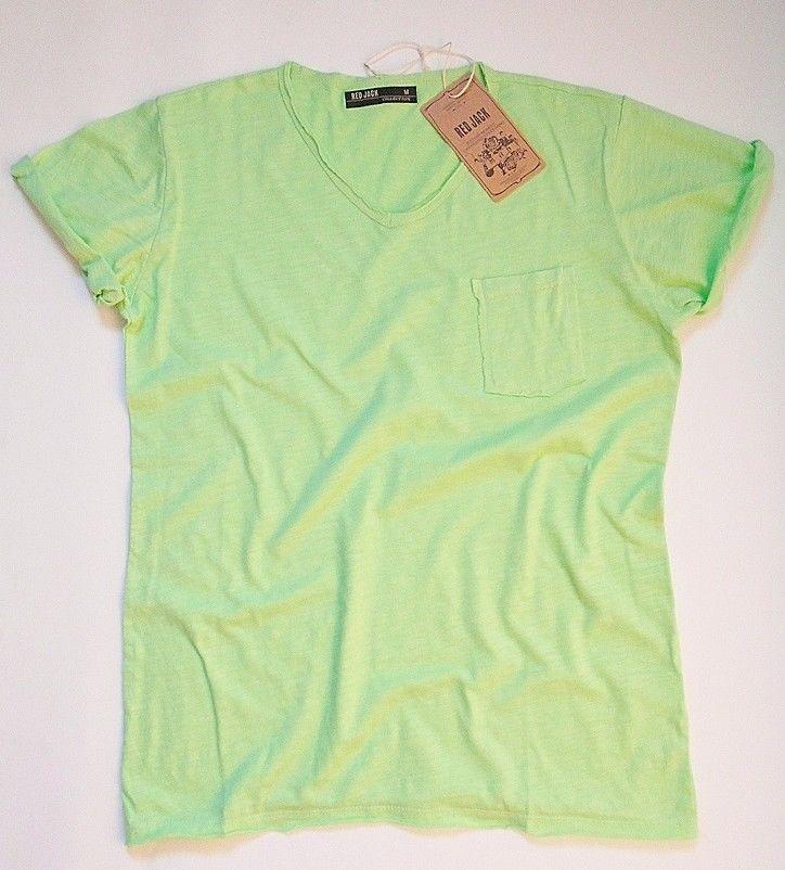 T shirt Uomo Verde Fluo Scollo V Taschino Vari Colori
