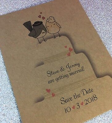 Save The Date Cards Wedding (20 Love Birds On Wedding Cake Save the Date - Cards with)