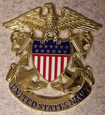 Military Plaque U S Navy metal NEW wall or shadow box mount ()
